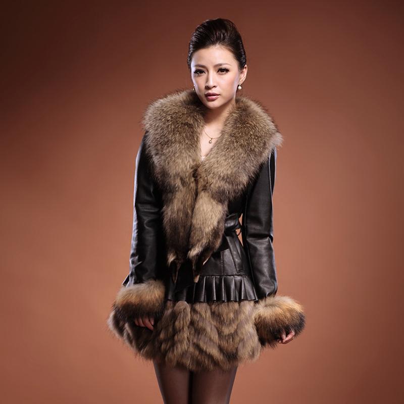 овчины долго дизайн кожаный пуховик женский