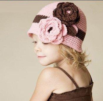 Baby  Winter knitted cap  child kids Girl princess Handmade cap For 3-18 M