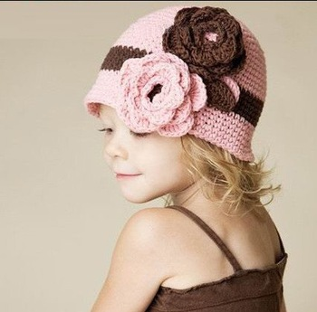 Candy color Baby hat Winter knitted hat for child kids princess cap Free shipping
