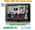in stock 9.7 inch IPS Multi Touch Screen Android 4.1 Tablet PC PIPO M2 3G Version+16GB+1GB+RK3066 Cortex A9 Dual Core 1.6GHz+BT