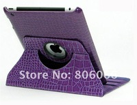 Crocodile Leather 360 Degree Rotating Magnetic case for iPad3 Cover Stand