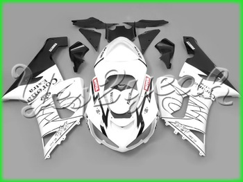 Fairing For Kawasaki Ninja ZX-6R 05-06 ZX6R 2006 ZX 6R 2005-2006 05 06  Corona White Black ABS Plastic Bodywork Set KC16