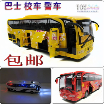 Bus school bus police car bus 5 open the door WARRIOR acoustooptical alloy car model toy car