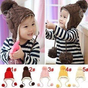 Lovely plush ball Child Caps Kids Winter gorro Beanies For 2-6 years baby