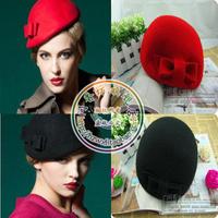free shipping fashion  winter warm Elegant intellectuality vintage pure genuine woolen beret fedoras bow hat female cap hat