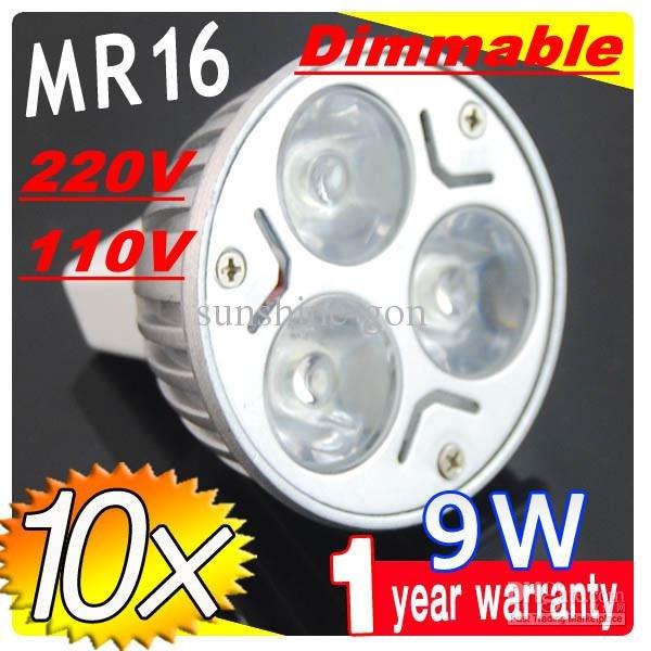 On sales retail MR16 GU5.3 220V 110V 9W Dimmable LED SpotLight bulb Bulbs Energy Saver lamps downlights 3X3W E27(China (Mainland))