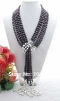 "Lovely!!        58"" 3Strand Black Rice Pearl & White Keshi Pearl Necklace  free +shippment"