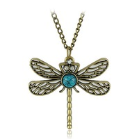 Fashion Jewellery Dragonfly Necklaces/Dragonfly with Turquoise Beads Pendant Necklace