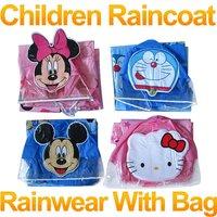 Free shipping !2012 new style riancoats,Hello Kitty, Mitch, Minnie, Doraemon Cartoons raincoats, with bag position FSWOB