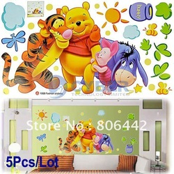 Wholesale 5Pcs/Lot Cartoon Animal PVC Wall Sticker,Wall Decal ,Wallpaper, Room Sticker, House Sticker Free Shipping 6351(China (Mainland))