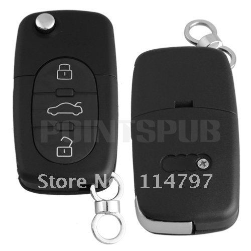 Free shipping Remote Key Case Fob Shell 3 Buttons Uncut Blade for AUDI A2 A3 A4 A6 A8 TT(China (Mainland))