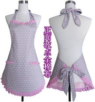 Free shipping 2012 latest design cotton pink cloth apron Korean aprons the fashion Polka Dot apron kitchen apron