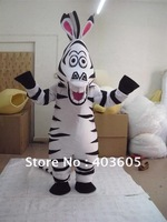 2012 Hot Sale ! EVA Material Madagascar Zebra Mascot Costume Madagascar Marty Mascot Costume With Fan & Helmet Free Shipping