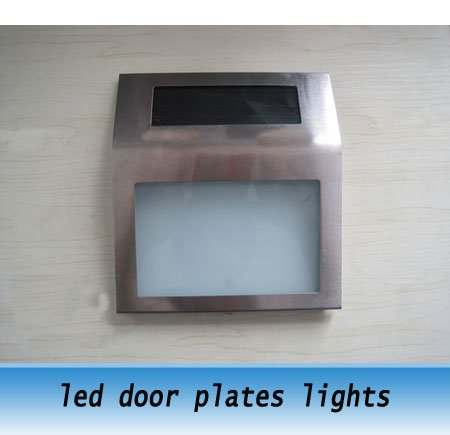 stainless steel Solar automatic led door plates lights sign plates apartment house Number lights(China (Mainland))