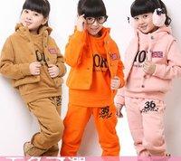 Комплект одежды для девочек Amazing children winter warm suits thick coat overcoat+jumpsuit overall+pants 3piece /set boys girls clothing