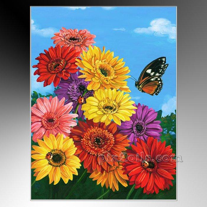 Дешевые цветы картины маслом гербера ...: ru.aliexpress.com/item/Cheap-Flowers-Oil-Paintings-Gerbera-Garden...