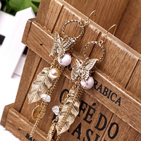 Fashion  royal tassel butterfly leaves vintage earrings female earrings