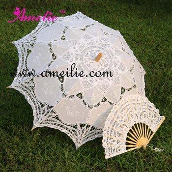 Белый EmbroideКрасный Battenburg Кружево Parasol and Fan Sun Umbrella Set Bride Adult ...