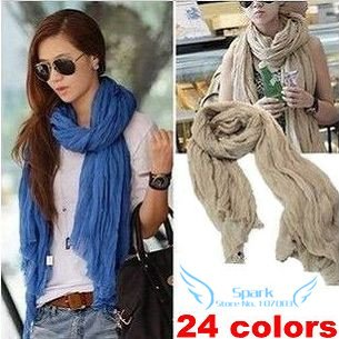 24 Colors Silk Scarf  Large Size Wrinkle Candy Scarf All-match Transparent Big Size Free Shipping