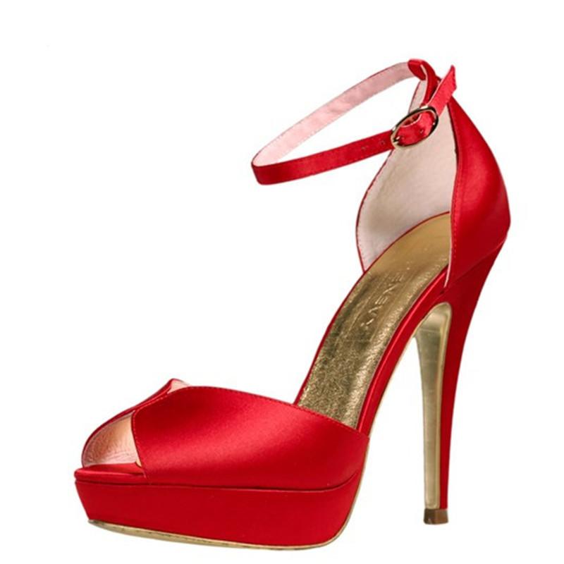 Red Open Toe High Heels