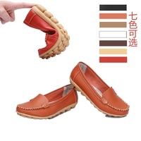 Genuine leather mother shoes white nurse shoes work shoes cow muscle outsole flat heel round toe shoes comfortable single shoes