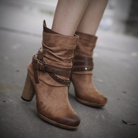 Doms winter fashion handmade platform thick heel ankle boots wood high heels round toe boots