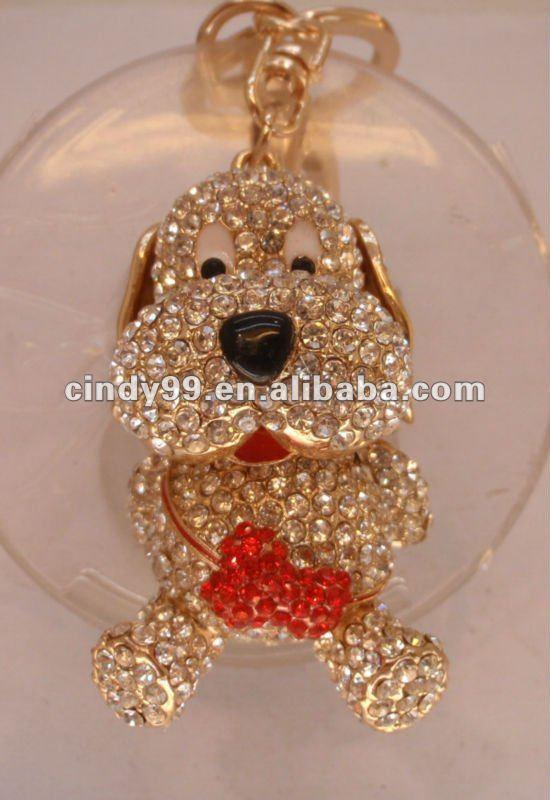free shipping fashion rhinestone dog keychain,key ring,bag charms,purse charms(China (Mainland))