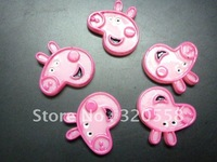 Wholesale pink  Peppa Pig FlatBack Resins Scrapbooking Embellishment 50pcs Free Shipping 1.2""