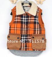 Free Shipping boy cotton plaid waistcoat vest with Plush collar vest