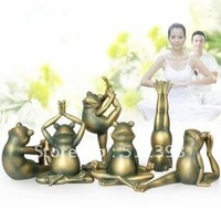Free Shipping Home Artware Creative Household Adornment yoga frog six pieces