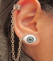 Fashion accessories devil chain stud earring earrings single