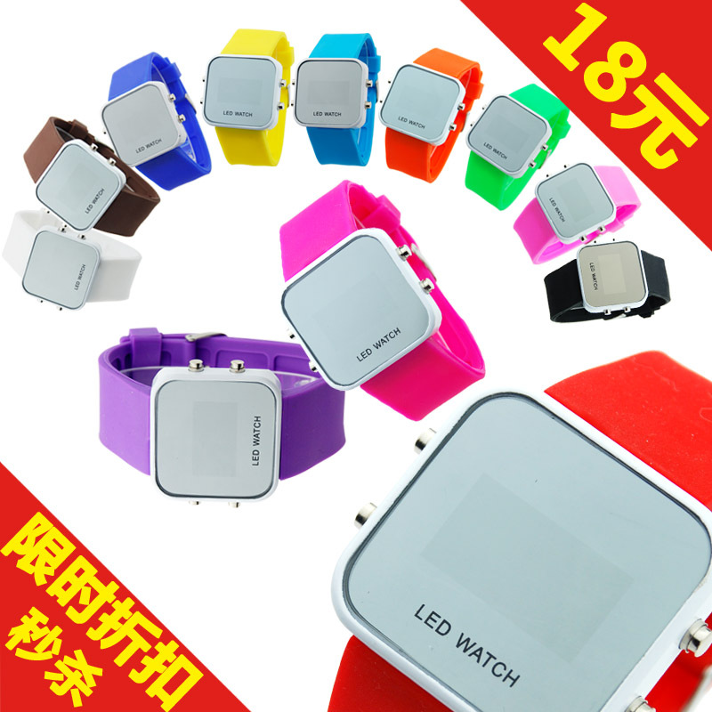 Led electronic watch rhinestone jelly table fashion candy color watch fashion personalized gift 1017(China (Mainland))