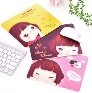 Free shipping, 5pcs/lot, wholesale, Lovely girl design PVC game mouse pad, XKD04#(China (Mainland))