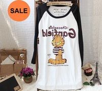 Free shipping+2pcs/lot+Promotion Long Pattern Cartoon Garfield Design 85%Cotton Lady's T-Shirts, Long Sleeves,2 Colors