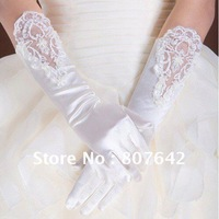 "Free Shipping Stocks 15"" 5pairs/lot White Satin Beaded Lace Opera Wedding Gloves Bridal Gloves Hot Sale Top Quality Sky-G003"