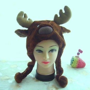 Punk Style Wholesale 8pcs/lot short style brown elk cartoon animal hats deer plush toys hat factory direct selling
