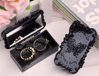 Anna style box mirror delicate restore ancient ways rose stereo carve patterns or designs on woodwork jewelry box