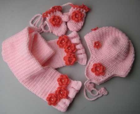 De piezas de este conjunto de color rosa beb 233 tejido de lana de punto