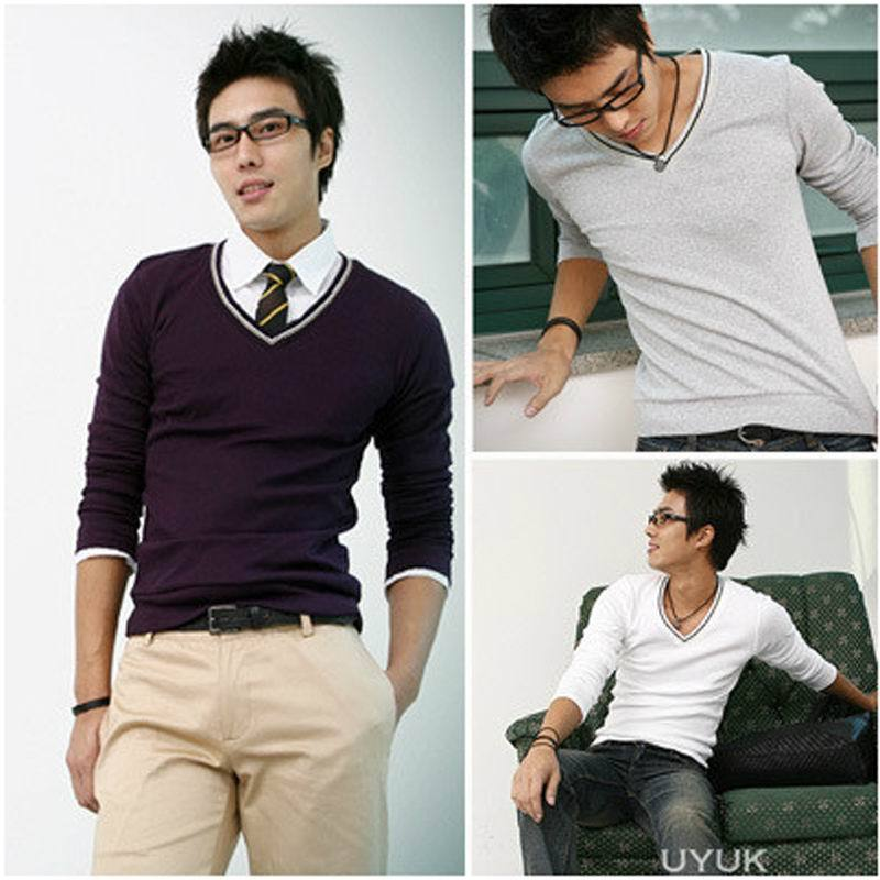 2012 autumn the trend of fashionable casual male all-match male sweater male basic shirt(China (Mainland))