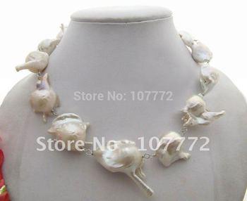 Rare Natural 30mm Keshi pearl Necklace free + shippment