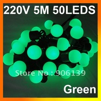 Wholesale 5M 50 LED Ball String Fairy Light Green Christmas Wedding Holiday 220V