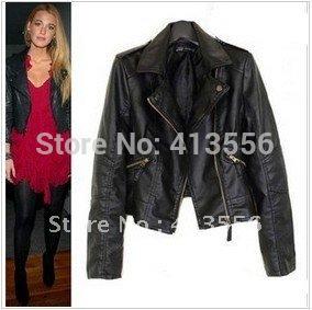 Women Winter Motorcycle Leather Jacket Coat S-XXL 5 Size Short Paragraph Diagonal Zipper outerwear coats 2014 New ow625(China (Mainland))