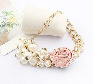 495#Min.order is $10 (mix order), Europe and the United States retro, bud Rose Pearl Flower tassel bracelet.