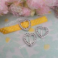 100 Heart Acrylic Buckle Ribbon Slider Decoration 2cm Fit RibbonWidth below 1cm