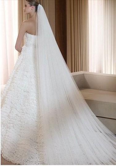 The Bride Wedding Dress Veil Long Design Double Layer Train Veil Brief Classic Belt Comb T22