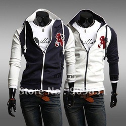 2012 Free shipping hot sale Men's Varsity hoody jacket Fashionable cardigan A'S LOGO hooded Men leisure hoodies 2color 4size(China (Mainland))