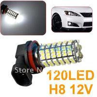 Free Shipping New 1 x Cold White H8 3528 120-SMD LED Error Free Car Vehicle Fog Lights Lamp Bulb 4458