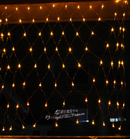 Led christmas net lights decoration lamp lantern flasher curtain lights 1.5 meters 1.5 beige end plug