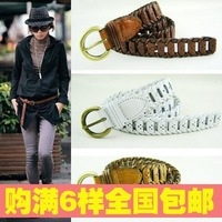 Accounting clothing 121 cowhide paper knitted genuine leather women's thin belt