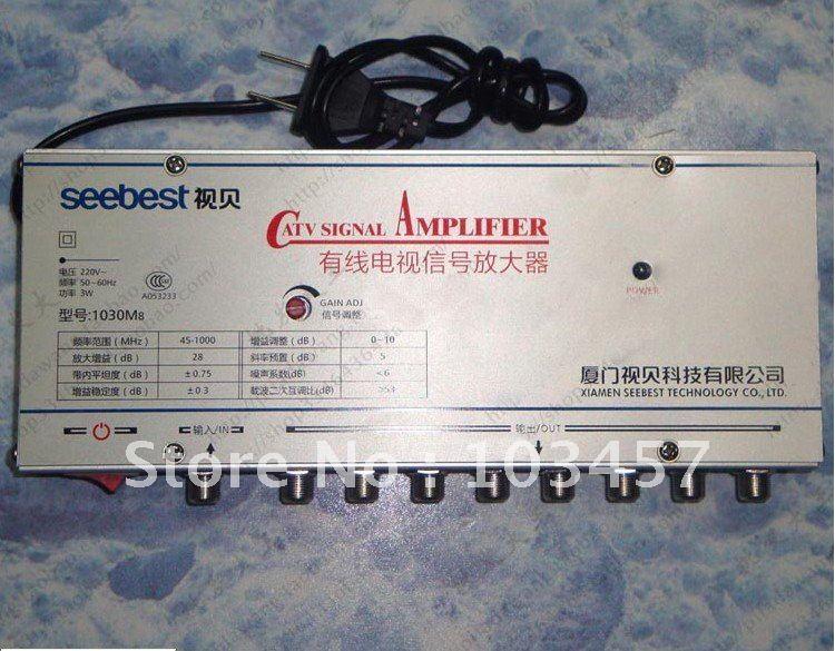 Free shipping, SB-1030M8, 8 way catv signal amplifer, Sat Cable TV Signal Amplifier Splitter Booster CATV, 30DB(China (Mainland))